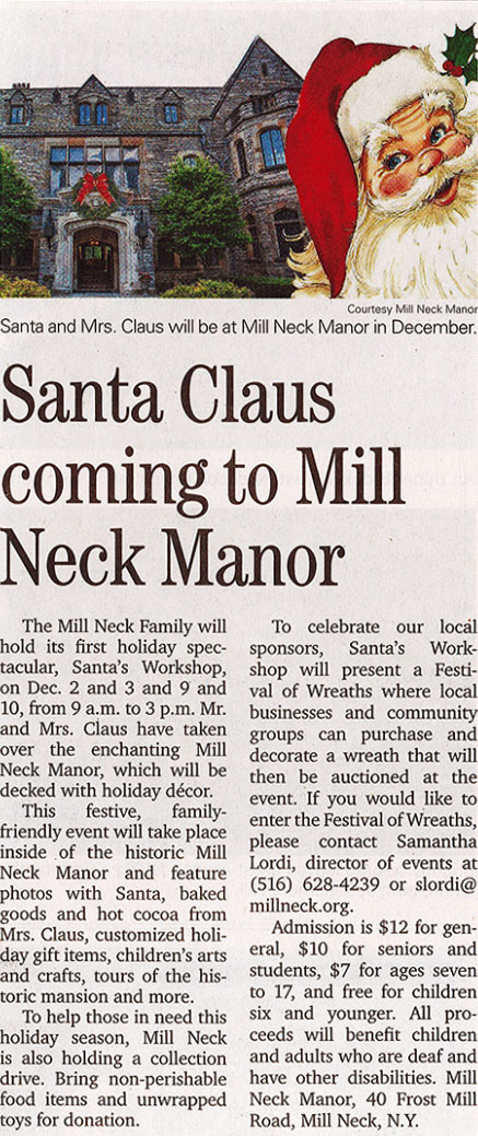 Santa Coming to Mill Neck