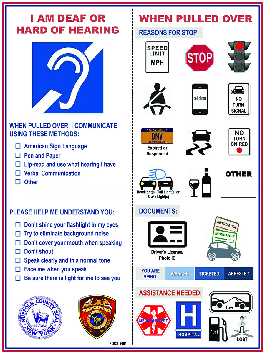 Official Suffolk Visor Card with images for police questions and answers at a traffic stop