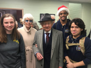 Manuel H. and Claire Barron with seniors from the Deaf Education Center
